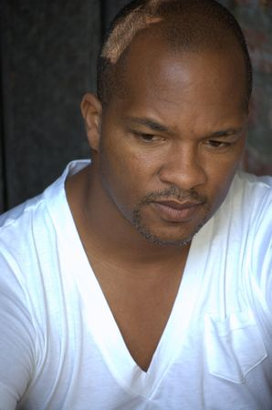 Portrait of a black man wearing white t-shirt Stock Photo