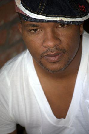 Portrait of a black man wearing a hat Banco de Imagens