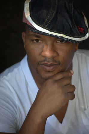 Portrait of a black man wearing a hat Stock Photo