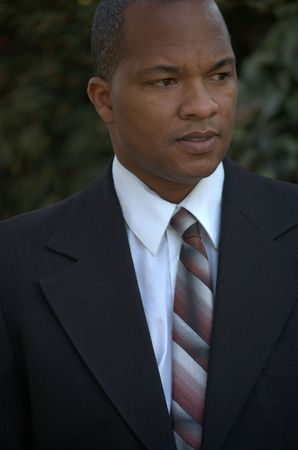 Portrait of a black man wearing business suit Stock Photo