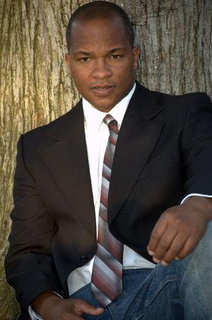 Black man wearing business suit