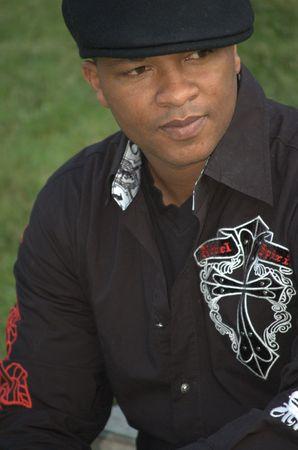 Stylish black man wearing black shirt