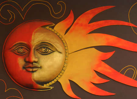 om symbol: Sun and Moon with Face - Background