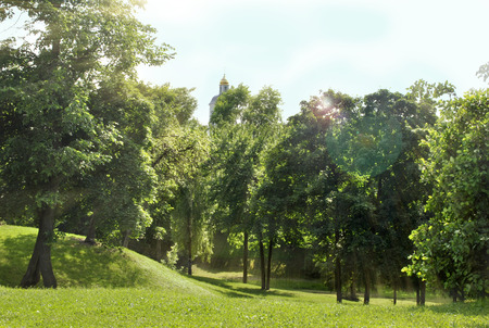 the tsaritsyno: Summer park, trees. Tsaritsyno Museum Stock Photo
