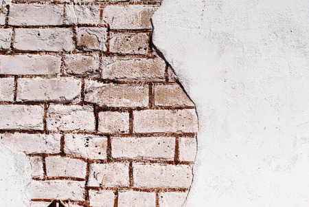brickwalls: old white brick wall with crumbling plaster