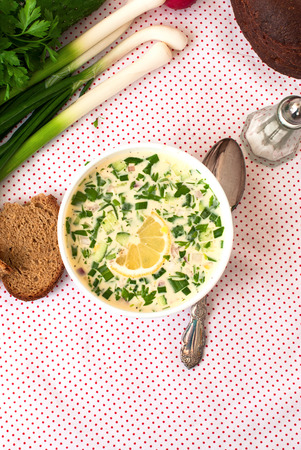 okroshka: hash - a traditional Russian cold soup from cucumbers, radishes, greens with egg and yogurt, Okroshka