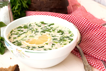 hash: hash - a traditional Russian cold soup from cucumbers, radishes, greens with egg and yogurt, Okroshka