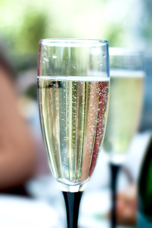 bubbly: Bubbly Champagne in Crystal Flute close up Stock Photo