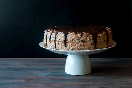 chocolaty: Big chocolate cake with chocolate frosting