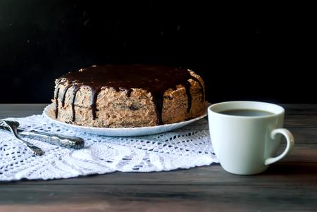 chocolaty: Big chocolate cake with chocolate frosting