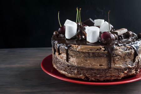 chocolaty: chocolate cake with frosting, fruit and marshmallow on a dark background Stock Photo