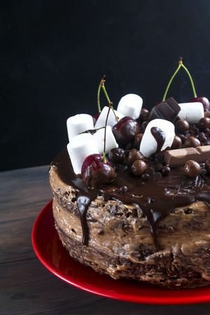 piece of chocolate cake  on the table and a big cake with chocolate topping on a stand,