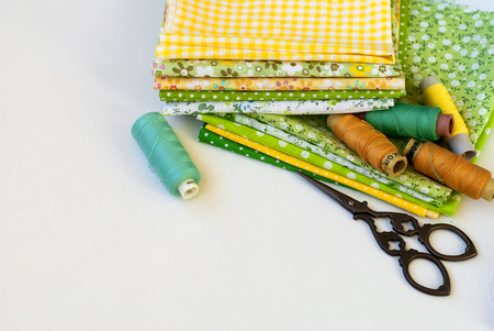 craft material tinker: Sewing kit and cloth materials with dressmaking sewing utensils needlework concept
