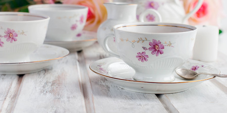 Stock Photo - two teacups teapot and milk jug festive tableware tea service with floral pattern. holiday concept. & Two Teacups Teapot And Milk Jug Festive Tableware Tea Service ...