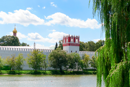 The Novodevichy Convent, in south-western Moscow, built in the 16th and 17th centuries in the so-called Moscow Baroque style, was part of a chain of monastic ensembles that were integrated into the defence system of the city. The convent was directly  Stock Photo