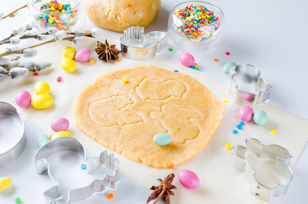 Baking Easter background with dough and ingredients Stock Photo