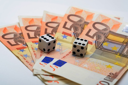 double the chances: Dices with double six and 5 50 euro notes
