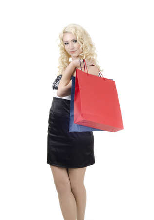Image of young woman with shopping bags photo