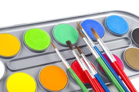 Image of paint and brush on white background Stock Photo - 12859681