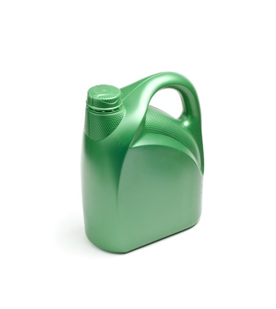 engine oil: Image of green oil canister on white Stock Photo