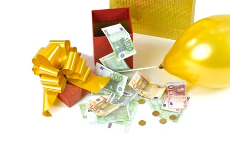 Image of present box with money and gift bag Stock Photo - 13329159