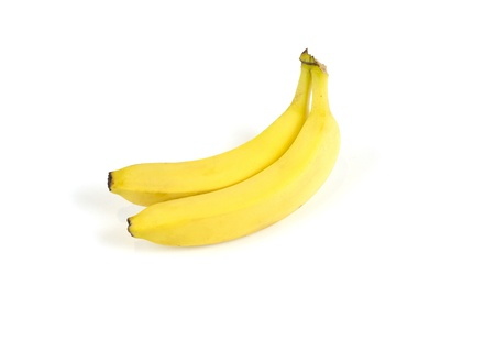 Image of two mature bananas on white background. photo