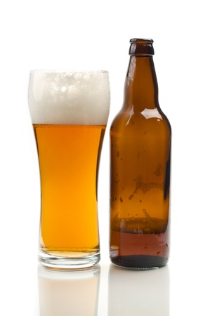 wallop: Image of glass and bottle of beer