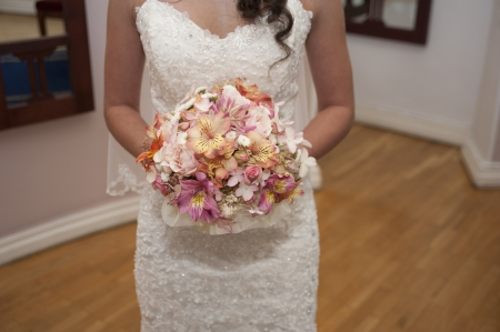Image of bride with bouquet photo
