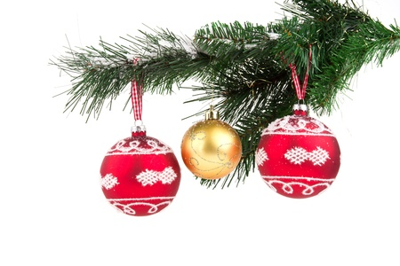 Image of christmas balls on christmas tree isolated photo