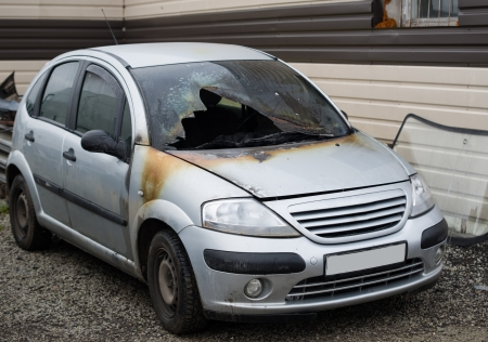 Image of burnt out abandoned car Stock Photo - 16834025