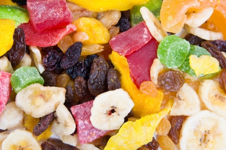 Image of tasty sweet mix dried fruits colorful background photo