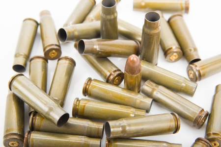 Image of bullet casings closeup, selective focus photo