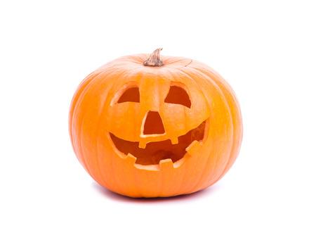 pumpkin head: Image of halloween pumpkin isolated on white Stock Photo
