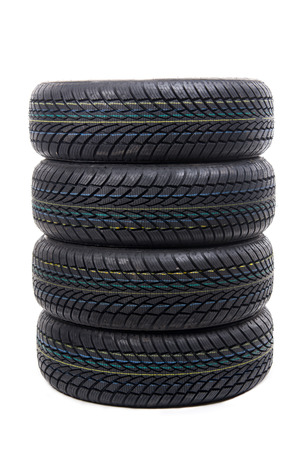 Image of stack of tires isolated on white photo