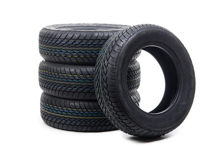 multiplicity: Image of tires isolated on white Stock Photo