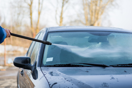 valeting: Image of private jet car wash Stock Photo