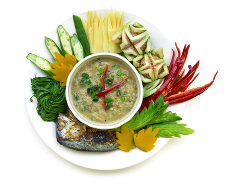Fish mackerel paste chili spicy with fresh and boiled vagetable ,grill Thai mackerel.Thai cuisine,Thaispicy healthy food or dietfood top view isolated on white background