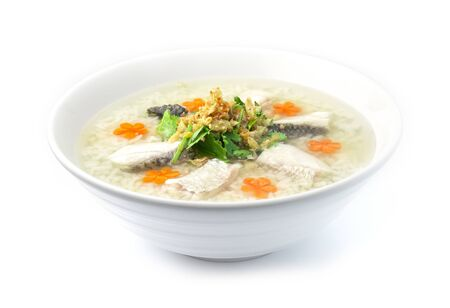 Rice Porridge boiled with Asian Seabass fish Cutlet cooking tasty Main Course Thai food fusion style decorate mix Chinese food style decorate with carved carrots and vegetable cutlet side view