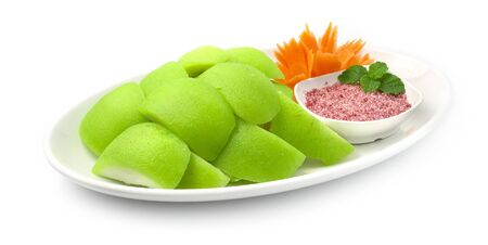 Guava Preserves in Syrup sweet tasty and Fresh Fruit of Thailand with sweet salt plum dipping. Fruit Break time for diet high vitamin C side view Zdjęcie Seryjne