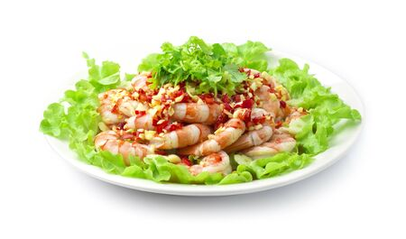 Shrimp Spicy Salad Thai Food Spicy Style ontop seafood sauce and coriander cutlet Thai herbs decorate vegetables side view