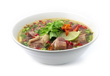 Spicy Soup with Pork Spare rib Thai Food spicy fusion style decorate vegetables and carved chili vegetables style healthy food goodtasty side view