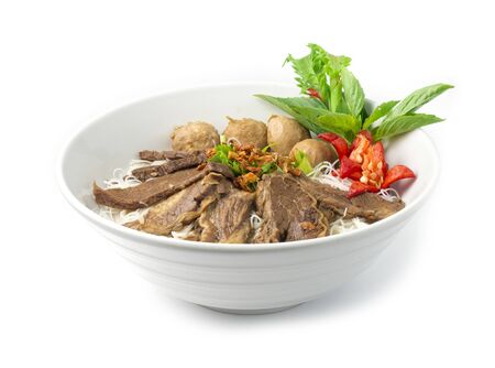 Vermicelli Noodles with Braised Stewed Beef without soup (kuay taiw nuae toon) Thai food dish decorate with vegetables style side view