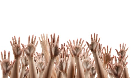 hands lifted up: Many peoples hands up isolated on white background. Various hands lifted up in the air. Clipping path. Copy space.
