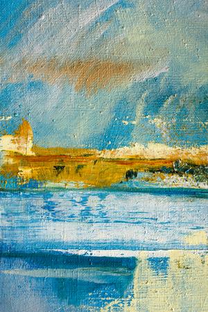 arte abstracto: Lienzo pintado abstracto. Pinturas al óleo en una paleta. Fondo colorido.