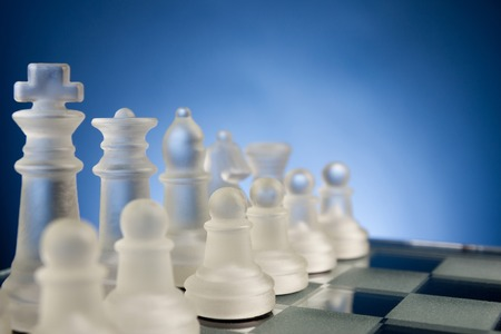 business planning: Chess face to face, first step. Copy space for text. Stock Photo