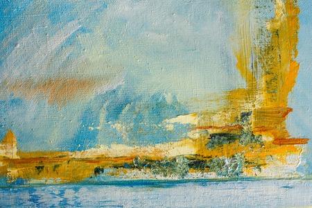 キャンバスに描かれた抽象。パレットのオイル塗料。カラフルな背景。 写真素材