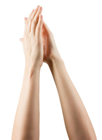 community recognition: Group of hands applauding on white background.