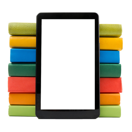 book reader: Stack of colorful books and electronic book reader. Electronic library concept. Back to school. Copy space.