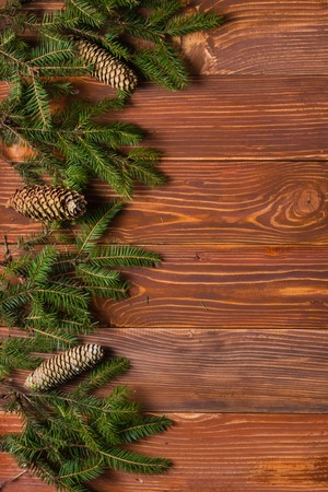 free christmas background: Christmas rustic background - vintage planked wood with lights and free text space. Stock Photo
