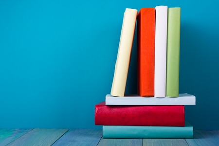 books library: stack of old books, copyspace for your text Stock Photo